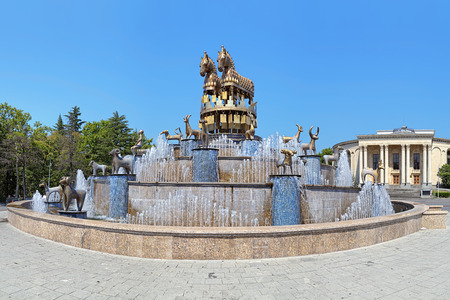 kutaisi: Colchian Fountain on the central square of Kutaisi with copies of statues found at Kolkhida excavations, Georgia