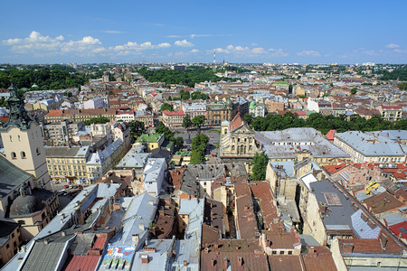 View of Lviv from the tower of Lviv City Hall with Jesuit Church and fragment of Latin Cathedral, Ukraine
