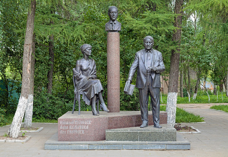 anthropologist: Monument of Gumilyov Family (Anna Akhmatova, Nikolay Gumilyov, Lev Gumilyov) in Bezhetsk, Russia