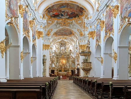 Interior of Old Chapel (Alte Kapelle) in Regensburg, Germany