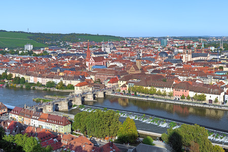 bayern old town: View of Wurzburg from Marienberg Fortress, Germany Stock Photo