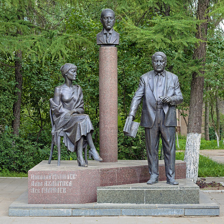 anthropologist: Monument of Gumilyov Family (Anna Akhmatova, Nikolay Gumilyov, Lev Gumilyov) in Bezhetsk, Russia