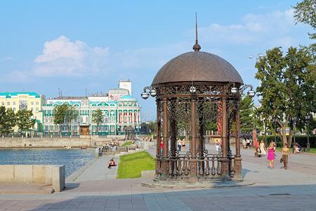 rotunda: Rotunda on the embankment of city pond in Yekaterinburg, Russia Stock Photo