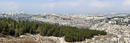 lookout: Panorama of Jerusalem from the Armon Hanatziv panoramic lookout, Israel