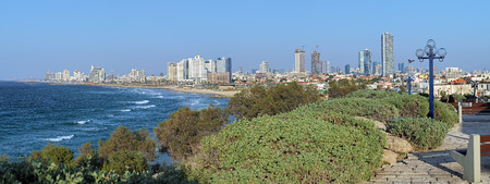 lookout: Panorama of Tel Aviv from the Jaffa lookout, Israel Stock Photo
