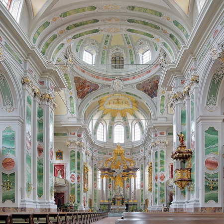church interior: Interior of Jesuit Church in Mannheim, Germany Editorial