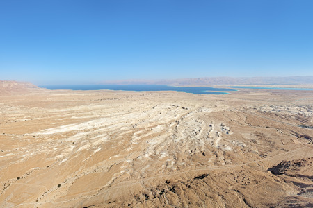 masada: View of Dead Sea and Moab Mountains from the Masada fortress, Israel