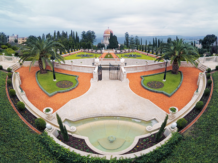 Upper terraces of Bahai Gardens with Shrine of the Bab on Mount Carmel in Haifa, Israel photo