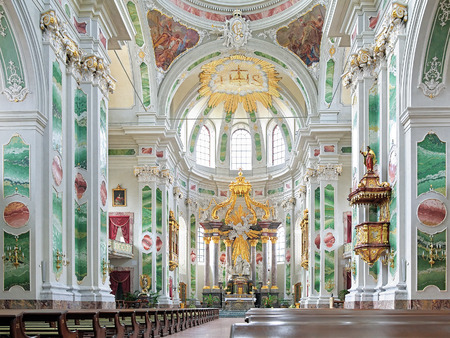 pilaster: Interior of Jesuit Church in Mannheim, Germany Editorial