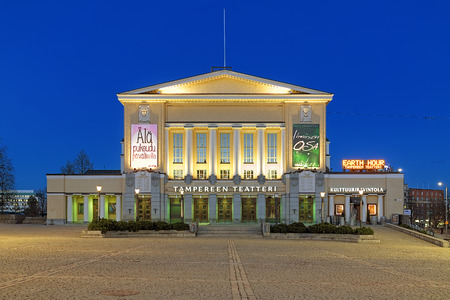 pilaster: Building of the Tampere Theatre on the Central Square of Tampere in evening, Finland