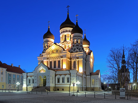 nevsky: Alexander Nevsky Cathedral in the Tallinn Old Town in early morning, Estonia