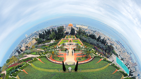 bab: Fisheye view of Haifa and Bahai Gardens with Shrine of the Bab from Mount Carmel, Israel
