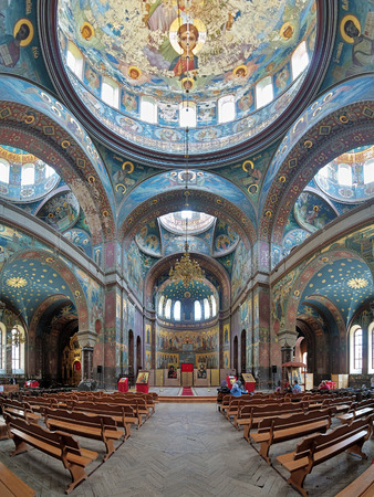 martyr: Interior of the Cathedral of St. Panteleimon the Great Martyr in the New Athos Monastery Novy Afon Monastery Abkhazia Editorial