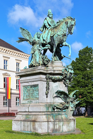 kaiser: Kaiser Wilhelm Monument in Dusseldorf Germany. The monument by the German sculptor Karl Janssen was unveiled on October 18 1896.