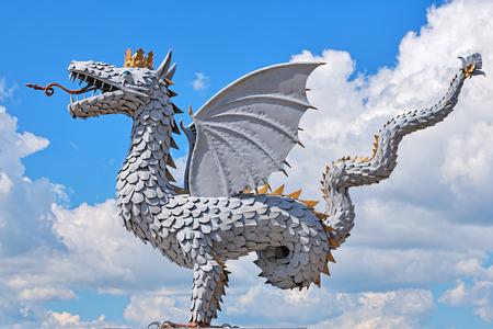 metal sculpture: Metal sculpture of the winged snake Zilant, official symbol of Kazan, Tatarstan, Russia Archivio Fotografico