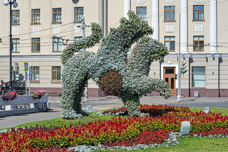 irbis: Kazan, Russia. Living sculpture of Ak Bars winged snow leopard, the official symbol of Tatarstan since 1992.