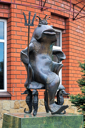 goby: Monument Goby - Tsar of the Sea of Azov in Yeysk, Russia Editorial