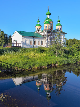 Cathedral of the Smolensk icon of the Mother of God on the shore of Megrega river in Olonets, Karelia, Russia