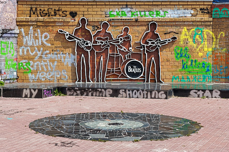 the beatles: The Beatles Monument in Yekaterinburg, Russia. This is the first monument to The Beatles in Russia.
