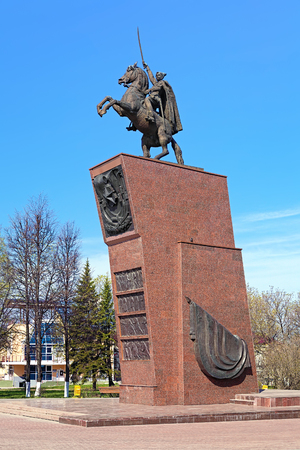 celebrated: Cheboksary, Russia. Monument to Vasily Chapayev, a celebrated Red Army commander during the Russian Civil War