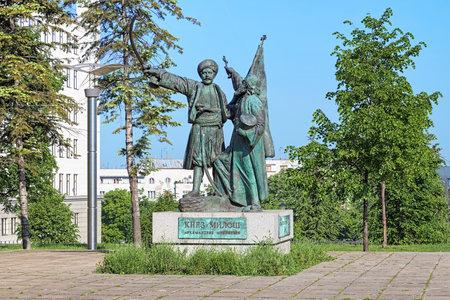 serb: Uprising in Takovo Monument in Belgrade, Serbia. The monument representing Milos Obrenovic, Prince of Serbia, and Archimandrite Melentije, First Serb Metropolitan of Belgrade, was created in 1900.