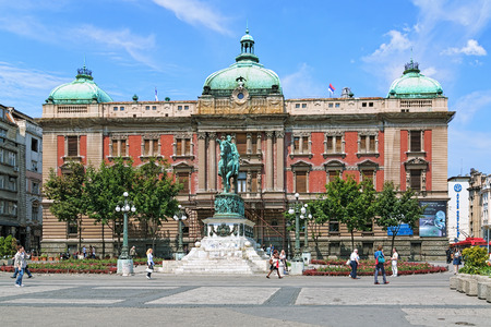 statue: Republic Square of Belgrade with Building of National Museum and Equestrian statue of Prince Mihailo Obrenovic, Serbia