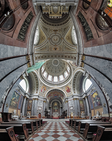 assumed: Vertical panorama of the interior of Esztergom Basilica. The Primatial Basilica of the Blessed Virgin Mary Assumed Into Heaven and St Adalbert is the biggest building in Hungary. Editorial