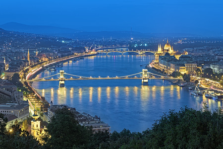 szechenyi: Evening view of Danube with Szechenyi Chain Bridge and Hungarian Parliament Building from Gellert Hill in Budapest, Hungary