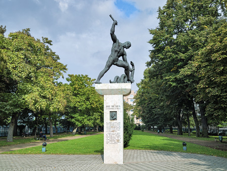 pal: BUDAPEST, HUNGARY - OCTOBER 5, 2015: Memorial to Raoul Wallenberg by sculptor Pal Patzay. It was removed by communist regime on April 9, 1949 and restored on the 50th anniversary of its demolition.