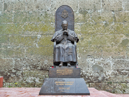 archbishop: ESZTERGOM, HUNGARY - OCTOBER 7, 2015: Monument of Jozsef Mindszenty, the Prince Primate of Hungary, Archbishop of Esztergom, cardinal, and leader of the Catholic Church in Hungary from 1945 to 1973.
