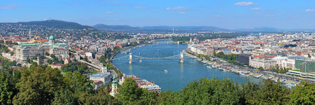 Panorama of Budapest, view from Gellert Hill, Hungary