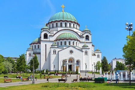 largest tree: Church of Saint Sava in Belgrade, Serbia. It is one of the largest Orthodox churches in the world Stock Photo