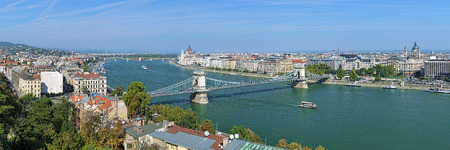 building a chain: Panorama of Budapest with Szechenyi Chain Bridge over Danube, Hungarian Parliament Building and St. Stephens Basilica, Hungary Stock Photo
