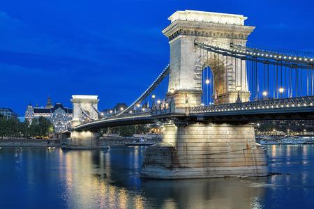 szechenyi: Szechenyi Chain Bridge over Danube in evening, Budapest, Hungary Stock Photo