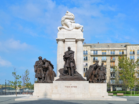 minister of war: BUDAPEST, HUNGARY - OCTOBER 5, 2015: Statue of Istvan Tisza, former prime minister of Hungary. The statue was erected on April 22, 1934, damaged during World War II and re-inaugurated on June 9, 2014.