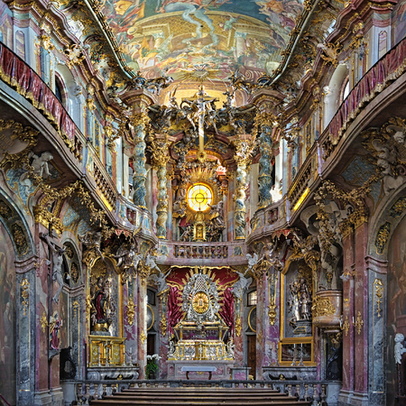 Interior of Asamkirche in Munich, Germany. The church was built in 1733-1746 and is considered to be one of the most important buildings of the main representatives of the southern German Late Baroque