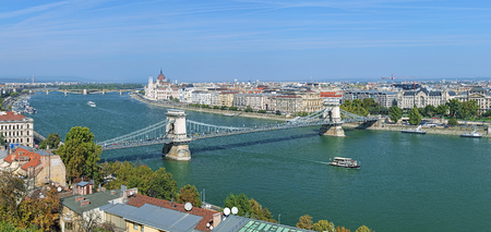 szechenyi: View of the Szechenyi Chain Bridge over Danube and the Hungarian Parliament Building in Budapest, Hungary