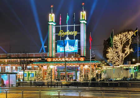 gothenburg: GOTHENBURG, SWEDEN - DECEMBER 17, 2015: Main entrance of Liseberg park with Christmas decoration. It is one of most visited amusement parks in Scandinavia and most famous Christmas Market of Sweden. Editorial