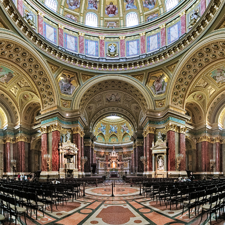 supposed: BUDAPEST, HUNGARY - OCTOBER 3, 2015: Interior of St. Stephens Basilica. It is named in honour of Stephen, the first King of Hungary c 975-1038, whose supposed right hand is housed in the reliquary.
