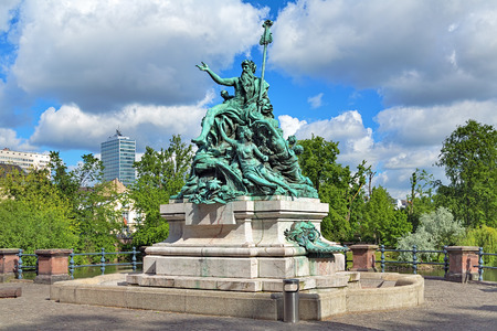 rhine westphalia: Father Rhine and his Daughters - a fountain sculpture in Dusseldorf, Germany. The sculpture was unveiled on March 7, 1897.