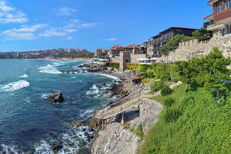 september 2: SOZOPOL, BULGARIA - SEPTEMBER 2, 2015: Old Town with fortress wall. Southern Fortress Wall and Tower Architectural and Historic Complex was established under projects of Sozopol Foundation since 2003. Editorial