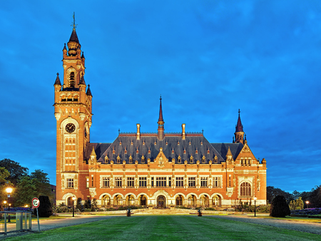 arbitration: The Peace Palace at evening in The Hague, Netherlands. It houses the International Court of Justice of UN, the Permanent Court of Arbitration and the Hague Academy of International Law. Editorial