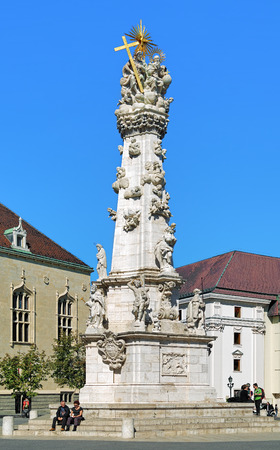 castle district: BUDAPEST, HUNGARY - OCTOBER 2, 2015: Holy Trinity Column in Budas Castle District. This large baroque plague column was built between 1710 and 1713 by design of Philipp Ungleich.