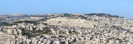 israel jerusalem: Panoramic view of the Mount of Olives with the most ancient and most important Jewish Cemetery in Jerusalem, Israel. View from the Armon Hanatziv panoramic lookout. Stock Photo