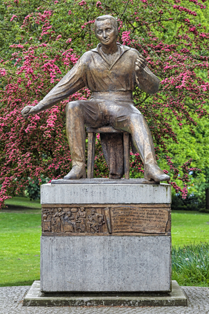 BREMEN, GERMANY - MAY 26, 2015: Heinrich Heine Monument. This is the authors replica of the monument created by sculptor Waldemar Grzimek in 1955. In Bremen it was unveiled on October 1, 2010. Stock Photo