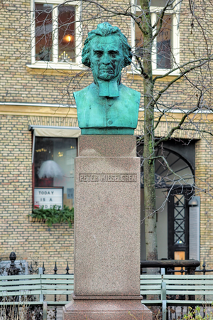 temperance: GOTHENBURG, SWEDEN - DECEMBER 15, 2015: Bust of Peter Wieselgren, a Lutheran priest and leader of the Swedish temperance movement. The bust by work of Bror Chronander was unveiled on October 1, 1910.