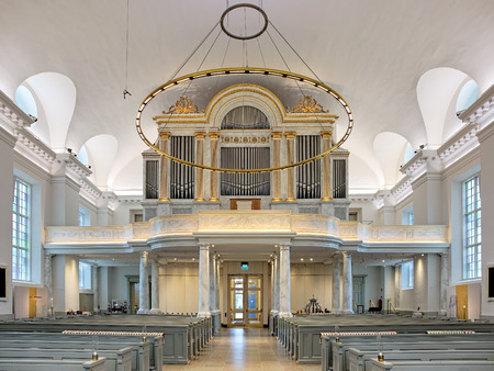 pipe organ: GOTHENBURG, SWEDEN - DECEMBER 15, 2015: Pipe organ of Gothenburg Cathedral. The current organ dates from 1962 but has maintained original facade of the previous organ inaugurated on December 1, 1816. Editorial