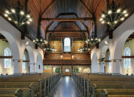 gothenburg: GOTHENBURG, SWEDEN - DECEMBER 17, 2015: Interior of Masthugg Church (Masthuggskyrkan). The church in the national romantic style in Nordic architecture was built in 1914 on the high Masthugget hill. Stock Photo