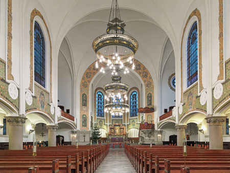 johannes: MALMO, SWEDEN - DECEMBER 13, 2015: Interior of St. Johns Church (Sankt Johannes kyrka). The church was designed by the Swedish architect Axel Anderberg in the Art Nouveau style and built in 1903-1907