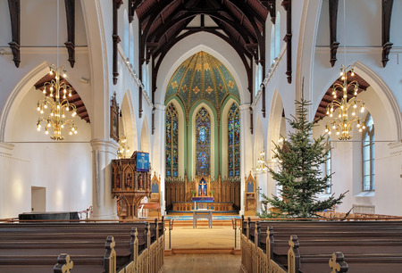 lutheran: GOTHENBURG, SWEDEN - DECEMBER 15, 2015: Interior of Haga Church (Hagakyrkan). The church was built in 1856-1859 by design of the Swedish architect Adolf W. Edelsvard and opened on November 27, 1859. Editorial